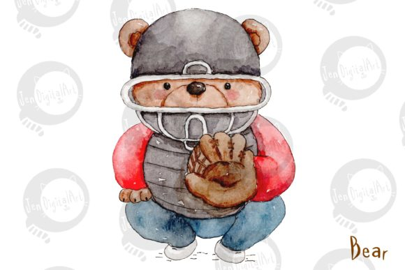 Watercolor Baseball Animals Graphic Illustrations By Jen Digital Art - Image 2