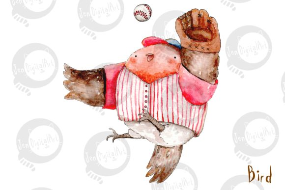 Watercolor Baseball Animals Graphic Illustrations By Jen Digital Art - Image 3