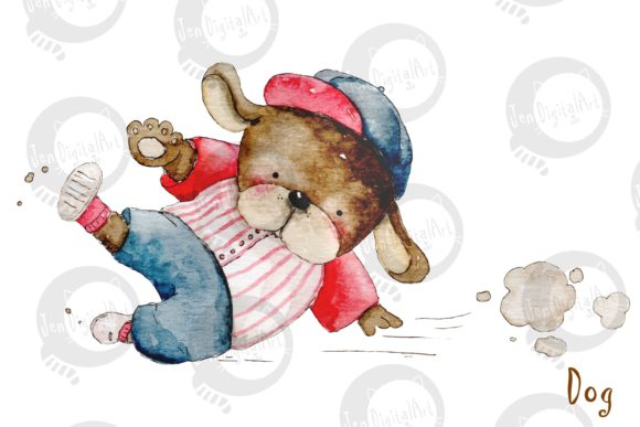 Watercolor Baseball Animals Graphic Illustrations By Jen Digital Art - Image 5