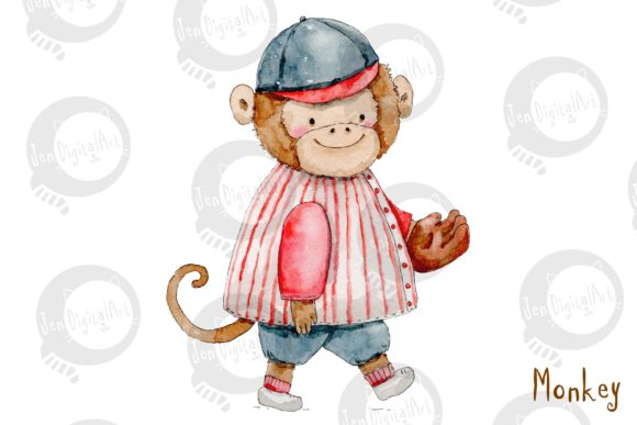 Watercolor Baseball Animals Graphic Illustrations By Jen Digital Art - Image 7