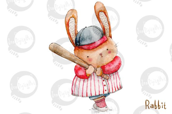 Watercolor Baseball Animals Graphic Illustrations By Jen Digital Art - Image 8