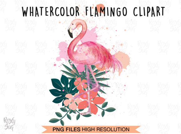 Print on Demand: Watercolor Flamingo Clipart Graphic Crafts By roxysvg26