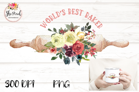 Download Free Watercolor Rolling Pin Baker Clipart Graphic By Shepixel SVG Cut Files