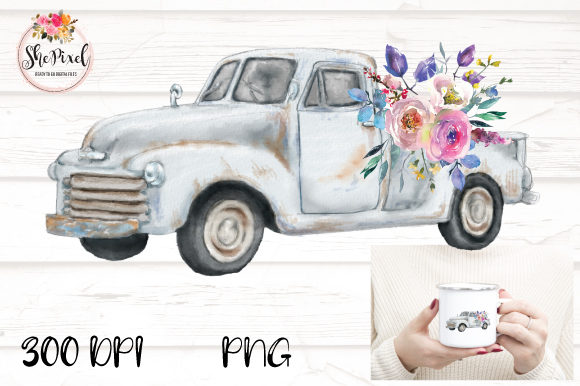 Print on Demand: Watercolor Vintage Truck with Flowers Graphic Illustrations By ShePixel