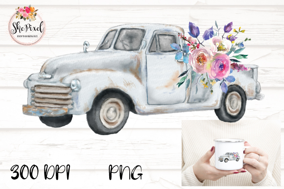 Download Free Watercolor Vintage Truck With Flowers Graphic By Shepixel for Cricut Explore, Silhouette and other cutting machines.