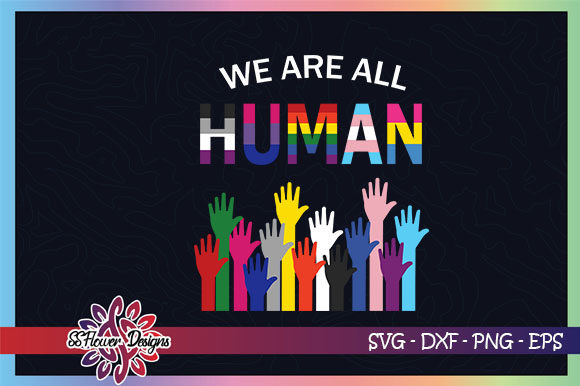 We Are All Human, Raising Hands Graphic Crafts By ssflower