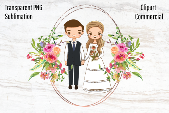 Print on Demand: Wedding Couple, Bride and Groom   Graphic Illustrations By Blueberry Jam Design