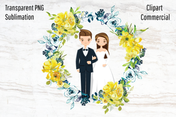 Print on Demand: Wedding Portrait Creator, Married Couple Graphic Illustrations By Blueberry Jam Design