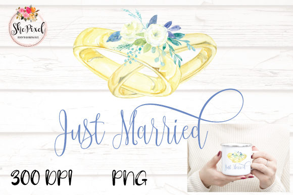 Print on Demand: Wedding Rings Watercolor Clipart Graphic Illustrations By Sublimation Hut