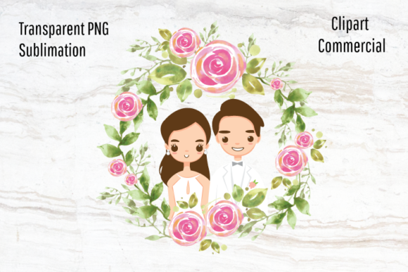 Print on Demand: Wedding Sublimation Design, Happy Couple Graphic Illustrations By Blueberry Jam Design