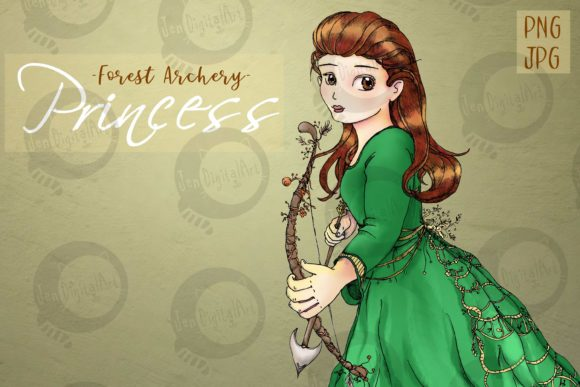 Whimsical Forest Archery Princess Graphic Illustrations By Jen Digital Art - Image 1