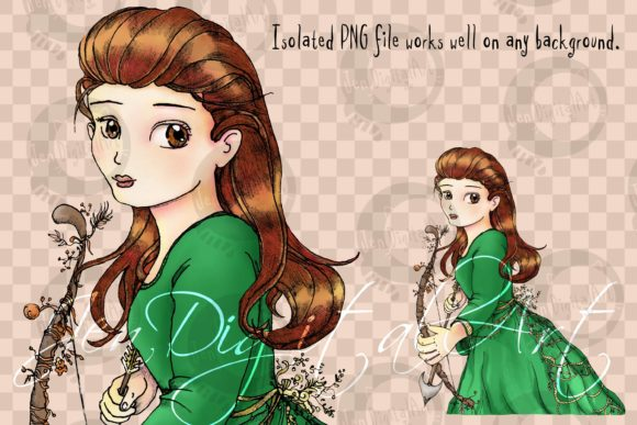 Whimsical Forest Archery Princess Graphic Illustrations By Jen Digital Art - Image 3