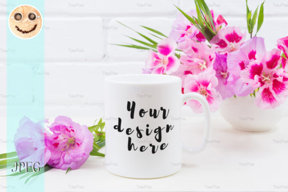 Download Free White Coffee Mug Mockup With Pink Godeti Graphic By Tasipas for Cricut Explore, Silhouette and other cutting machines.