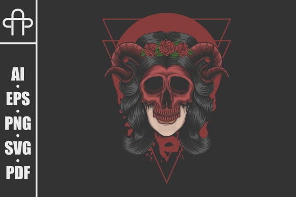 Download Free Woman Demon Mask Vector Illustration Graphic By Andypp for Cricut Explore, Silhouette and other cutting machines.