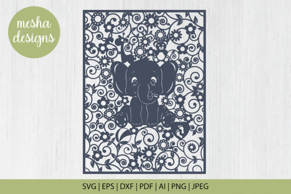 Download Free Baby Elephant Frame Paper Cut Graphic By Diycuttingfiles for Cricut Explore, Silhouette and other cutting machines.