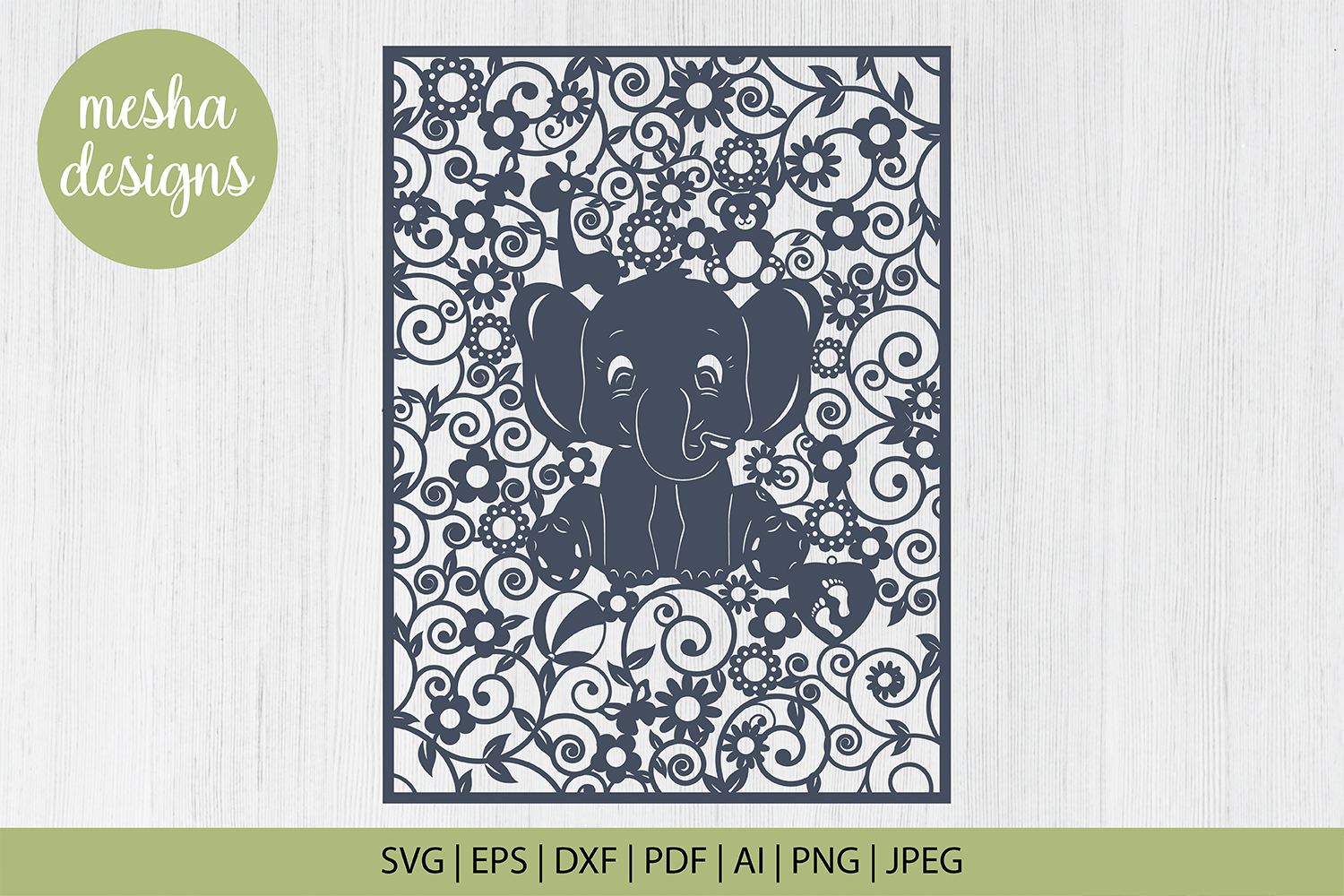 Baby Elephant Frame Paper Cut Graphic By Diycuttingfiles