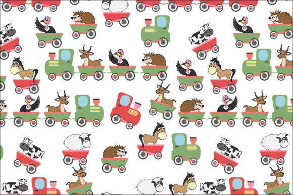 Print on Demand: Cute Animal in the Train Pattern Graphic Patterns By curutdesign