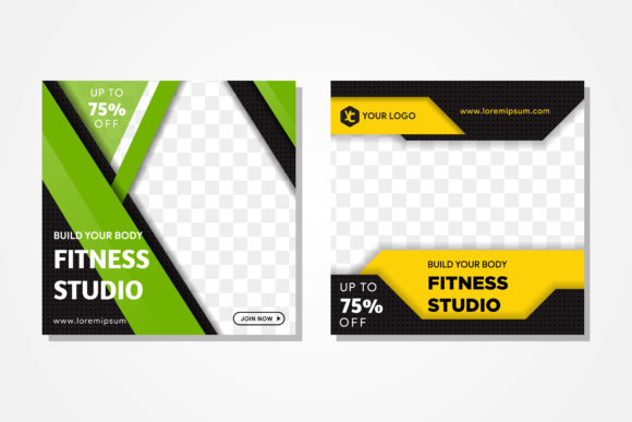 Green Yellow Square Banner Fitness Graphic Free Download