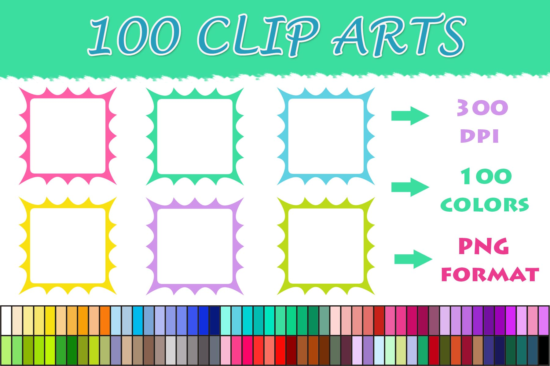 Download Free 100 Frame Borders Clip Art 02 Graphic By Sweetdesign Creative Fabrica for Cricut Explore, Silhouette and other cutting machines.