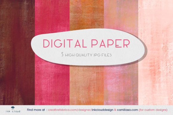 Print on Demand: 5 Digital Paper Colorful Patterns Graphic Backgrounds By Inkclouddesign