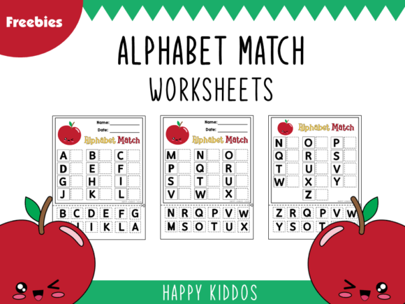 Alphabet Match Cut & Paste Worksheets Graphic K By Happy Kiddos - Image 1