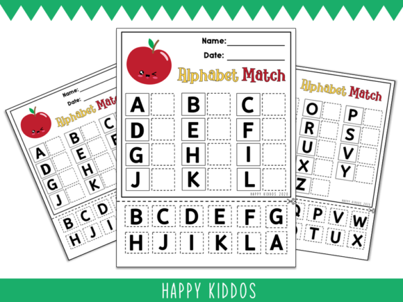 Download Free Alphabet Match Cut Paste Worksheets Graphic By Happy Kiddos for Cricut Explore, Silhouette and other cutting machines.