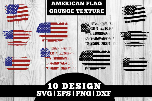 Print on Demand: American Flag / USA Flag Grunge Texture Graphic Crafts By damasyp