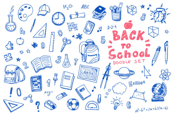 Back to School Doodle Vector Set Graphic Illustrations By teploletauf
