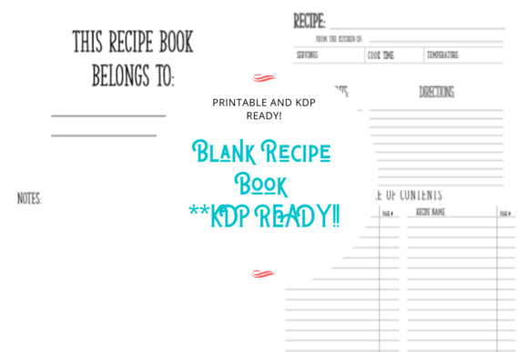 Blank Recipe Book KDP Graphic KDP Interiors By MadeByMajenica