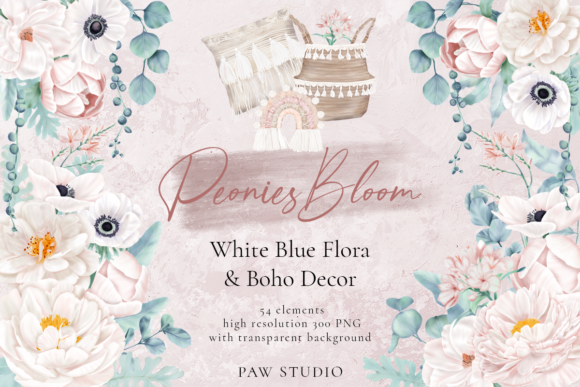 Print on Demand: Boho White Peonies Flowers Home Clipart Grafik Illustrationen von PawStudio