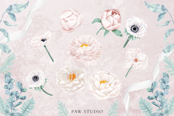 Print on Demand: Boho White Peonies Flowers Home Clipart Graphic Illustrations By PawStudio - Image 2