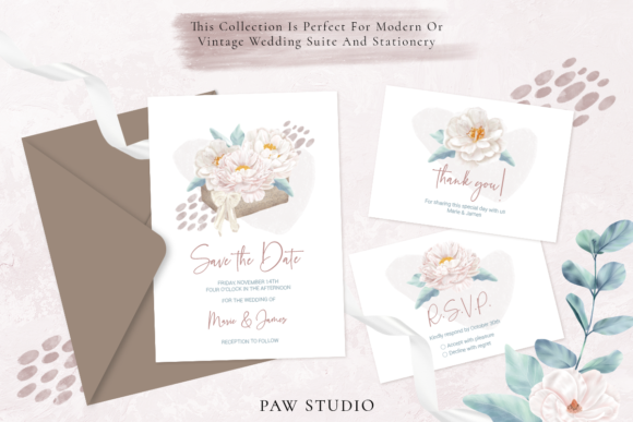 Print on Demand: Boho White Peonies Flowers Home Clipart Graphic Illustrations By PawStudio - Image 6