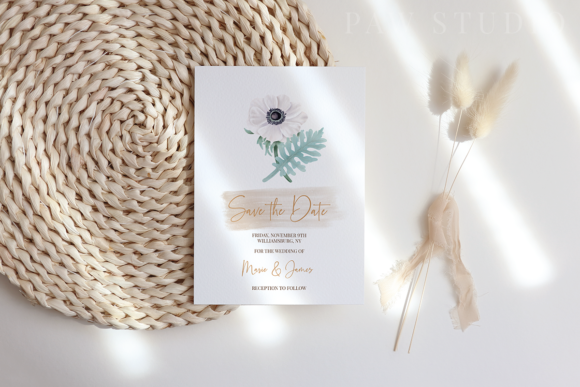 Print on Demand: Boho White Peonies Flowers Home Clipart Graphic Illustrations By PawStudio - Image 7