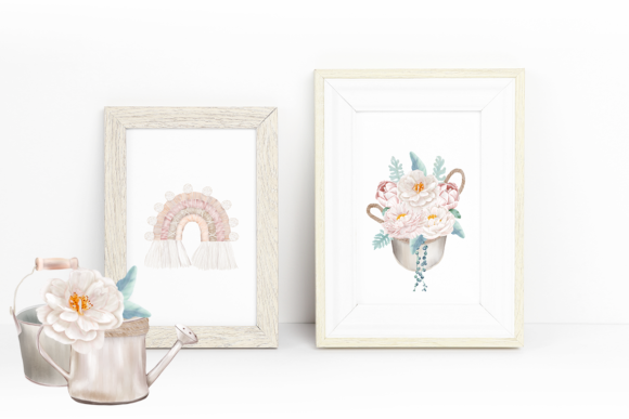 Print on Demand: Boho White Peonies Flowers Home Clipart Graphic Illustrations By PawStudio - Image 8