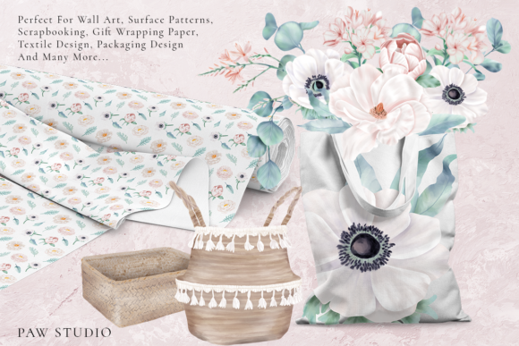 Print on Demand: Boho White Peonies Flowers Home Clipart Graphic Illustrations By PawStudio - Image 9