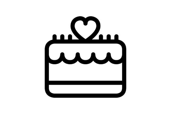 Cake Black and White Line Icon (Graphic) by glyph