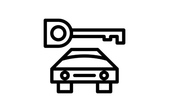 Download Free Car Black And White Line Icon Graphic By Glyph Faisalovers for Cricut Explore, Silhouette and other cutting machines.