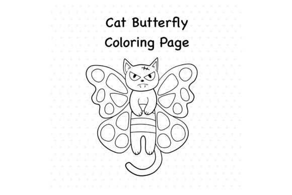 Cat Butterfly Graphic Coloring Pages & Books Kids By TakeNoteDesign