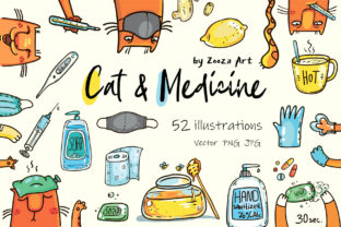 Print on Demand: Cat and Medicine - 52 Illustrations Graphic Illustrations By Zooza Art