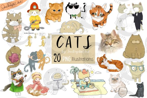 Cats | 20 Assorted Illustrations Graphic Illustrations By Jen Digital Art
