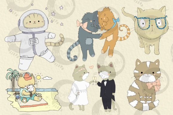 Cats | 20 Assorted Illustrations Graphic Illustrations By Jen Digital Art - Image 2