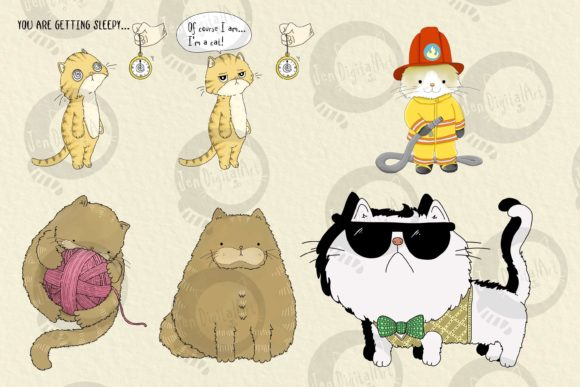 Cats | 20 Assorted Illustrations Graphic Illustrations By Jen Digital Art - Image 3