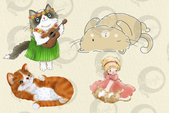Cats | 20 Assorted Illustrations Graphic Illustrations By Jen Digital Art - Image 5