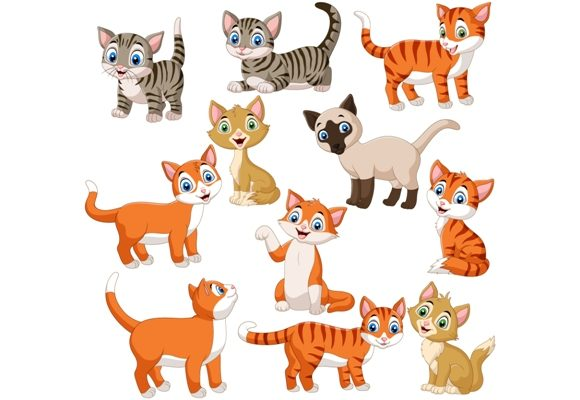 Download Free Cats Character Clip Art Set Graphic Graphic By Tigatelusiji for Cricut Explore, Silhouette and other cutting machines.