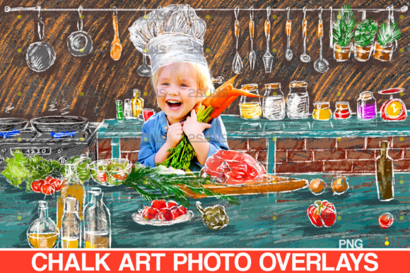 Chalk Art Clipart Kitchen Graphic Illustrations By 2SUNS