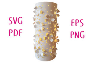 Cherry Blossom Lantern 3D Cut File Graphic 3D SVG By Nic Squirrell