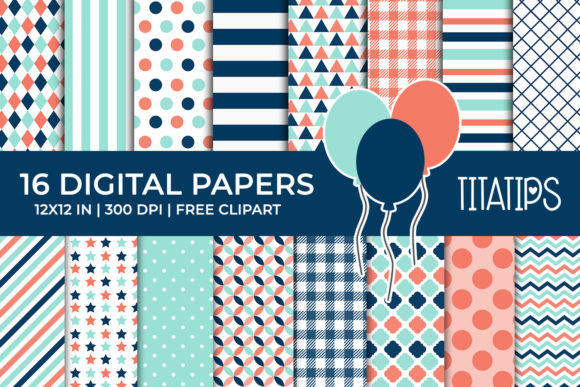 Coral And Blue Digital Papers Set Graphic By Titatips Creative Fabrica