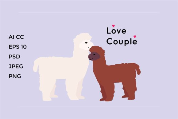 Download Free Couple Cute Alpaca Llama Graphic By Griyolabs Creative Fabrica for Cricut Explore, Silhouette and other cutting machines.