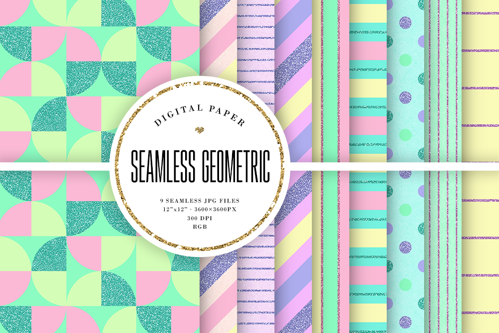 Download Free Cute Colors Geometric Seamless Patterns Graphic By Sabina Leja for Cricut Explore, Silhouette and other cutting machines.