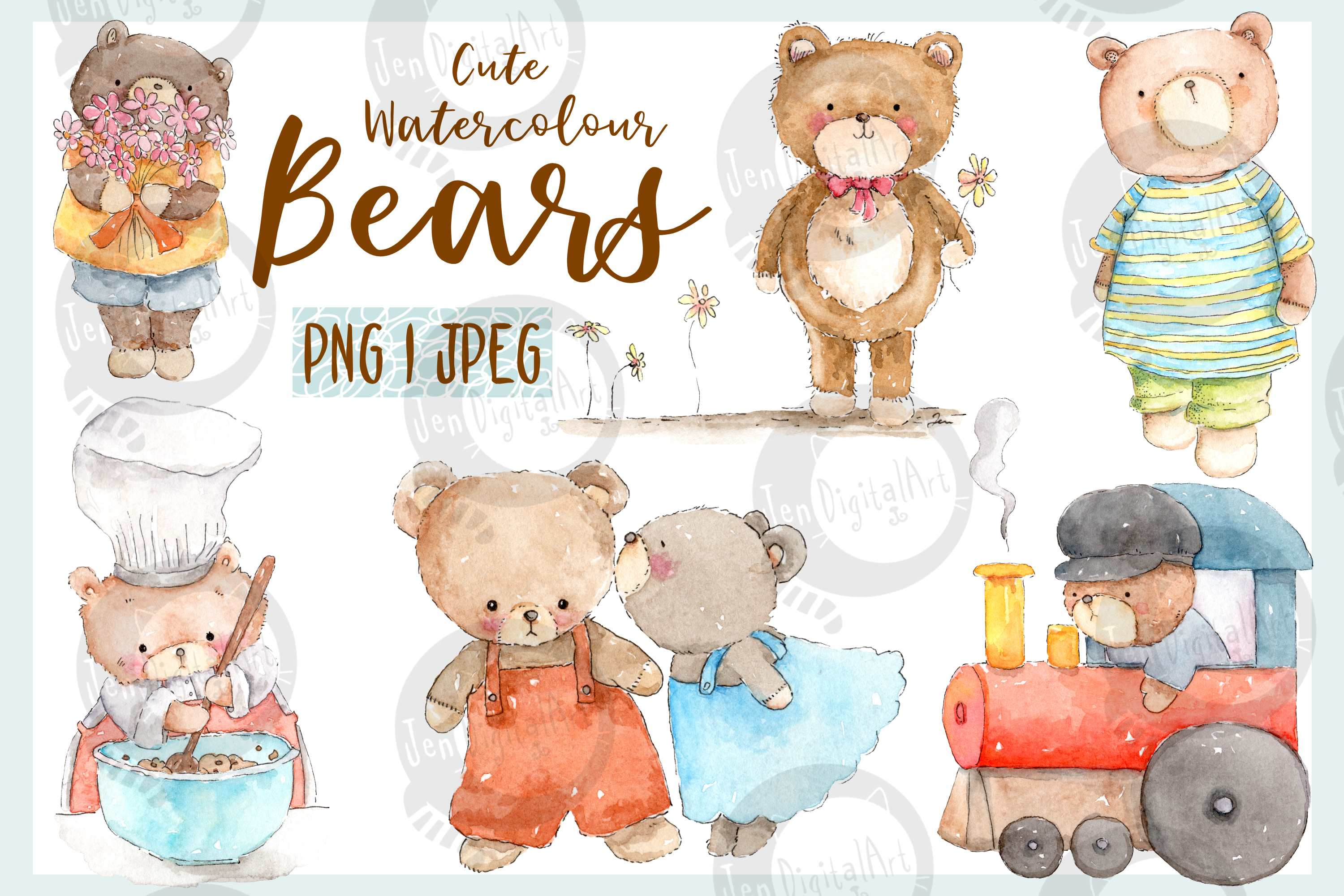 Download Free Cute Watercolor Bears Graphic By Jen Digital Art Creative Fabrica for Cricut Explore, Silhouette and other cutting machines.